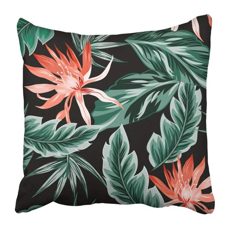 WOPOP Blue Tropical Flowers Jungle Leaves Bird of Paradise Beautiful Floral Pattern Exotic Colorful Leaf Pillowcase Pillow Cushion Cover 18x18 inch Bird Of Paradise Leaves