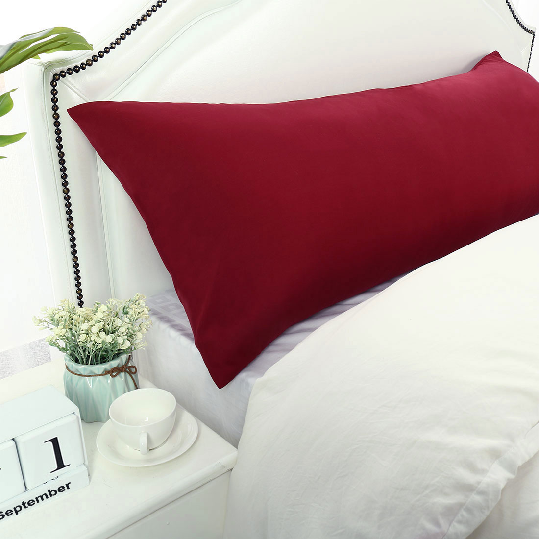 """Body Pillow Cases 1800 Microfiber Soft Bolster Pillow Covers Wine 20x60"""""""