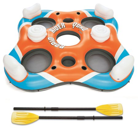 Bestway 101-Inch Rapid Rider 4-Person Floating Island Raft w/ Coolers & (Best Way To Kill Yellow Jackets In Ground)