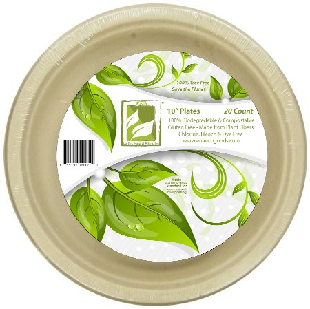 """Earth's Natural Alternative Plates, 10"""", Unbleached, 20 Ct"""