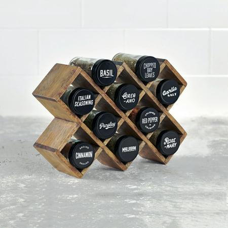 Kamenstein Criss Cross Pine Spice Rack With 10 Pre-Filled Glass Jars