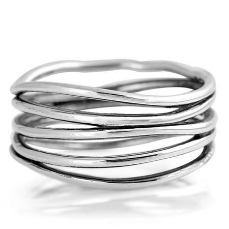 Oxidized Bar Knot Wide Wedding Ring ( Sizes 4 5 6 7 8 9 10 ) New 925 Sterling Silver Open Band Rings by Sac Silver (Size 7)