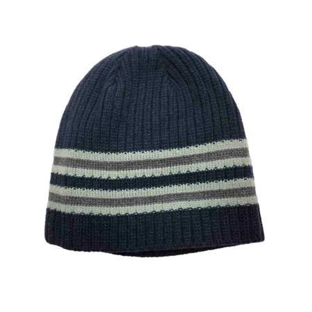 Igloos Mens Reversible Navy Blue Stripe Ribbed Beanie Solid Stocking Cap Hat (Mens Stocking Cap)