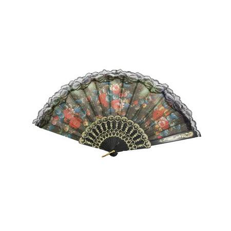 Unique Bargains Black Lace Hem Decor Colorful Floral Pattern Foldable Cooling Hand Fan