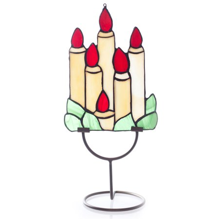 Glass Window Panel -  0 -  Red Holiday Candle (Best Holiday Window Candles)