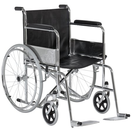 Best Choice Products 24in Lightweight Folding Wheelchair w/ Swing-Away Footrest and Carry Pockets - Black