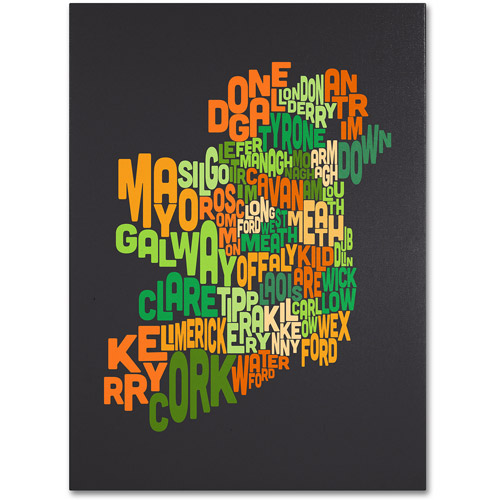 Trademark Art 'Ireland Text Map 6' Canvas Art by Michael Tompsett