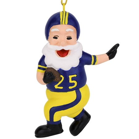 - Tree Buddees Touchdown Santa Christmas Sports Football Ornament (Blue & Yellow)