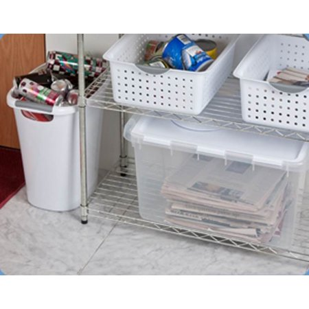 Sterilite 1914 Single 48 Quart Clear Base Hinged Lid Storage Box Tote Container - image 9 de 12