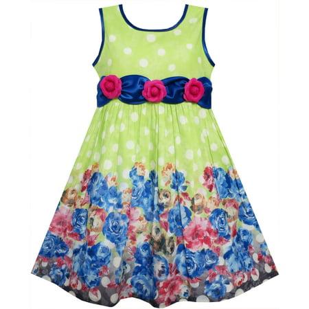 Sunny Fashion Girls Dress Sleeveless Polka Dot Rose Flower Garden Green Print Size 4 12