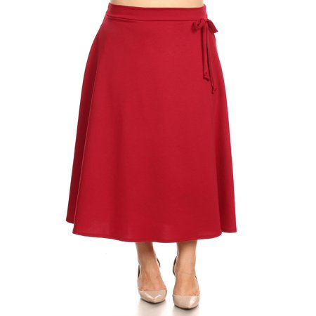 NEW MOA Women's Plus Size Solid Casual Comfy Faux Wrap A-Line Midi Skirt ()