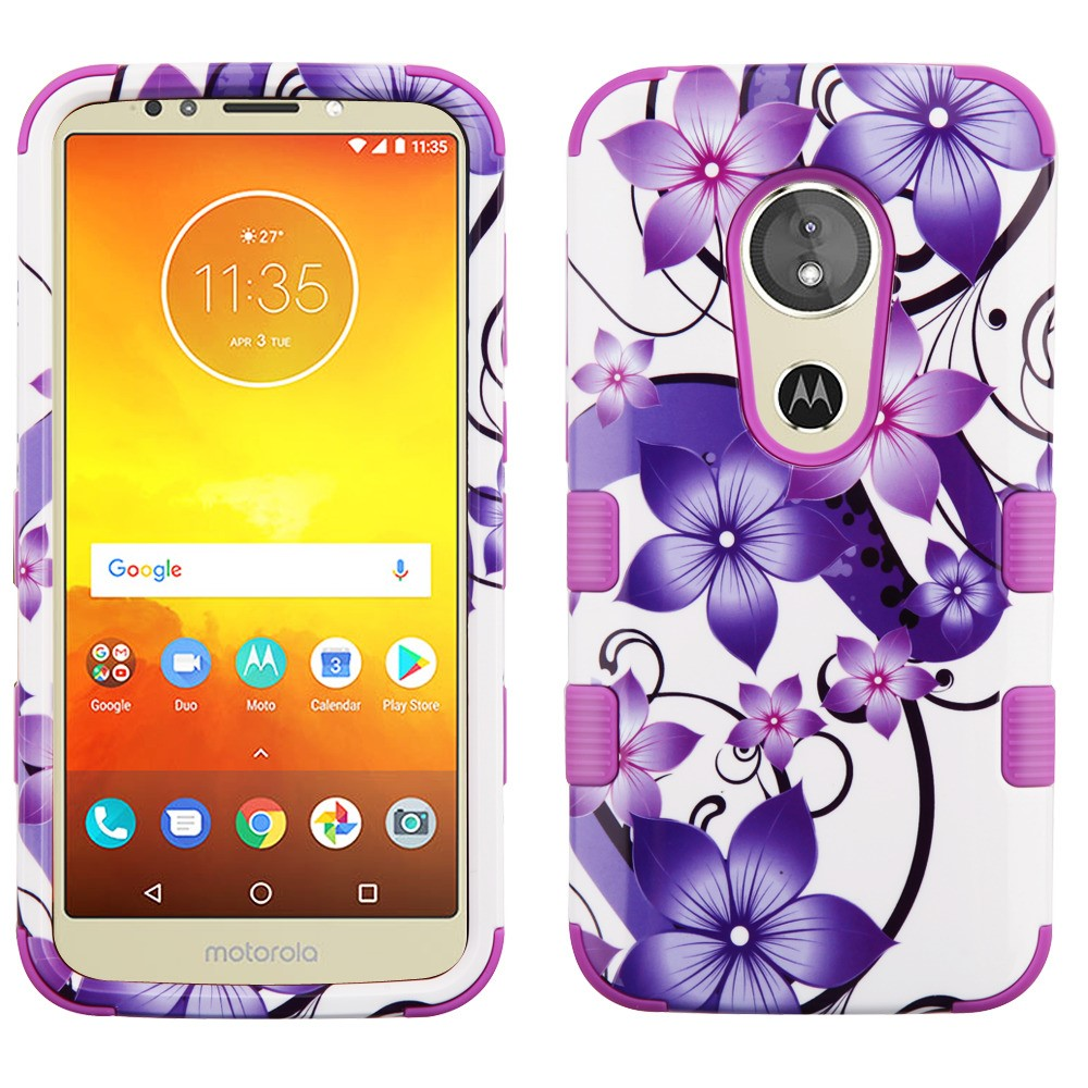 TUFF Hybrid Rugged Protection Case Cover and Atom Cloth for Moto E5 Play - Purple Hibiscus