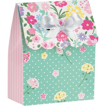 Creative Converting Floral Tea Party Favor Bag W/Ribbon, 12 ct
