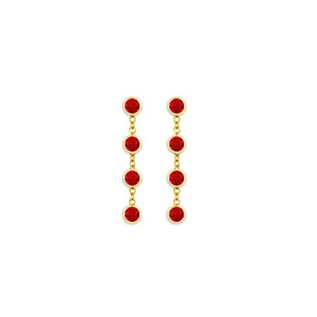 18k Bead Set Bezel - Drop Earrings Bezel Set Rubies in 18K Yellow Gold Vermeil on Silver