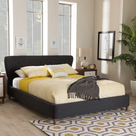 Baxton Studio Camden Mid Century Modern Platform Bed Multiple Sizes