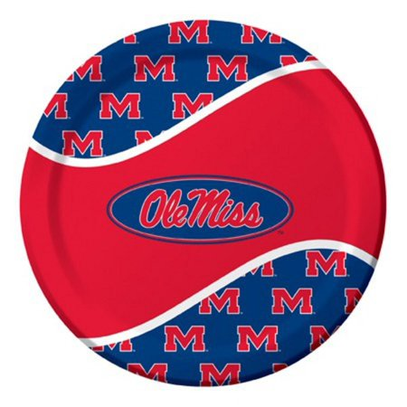 Ole Miss Party Supplies (Pack of 96 NCAA Ole Miss Rebels Round Tailgate Party Paper Dinner Plates)