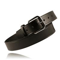 """Boston Leather Off Duty 52"""" Leather Brass Buckle Belt Plain Black"""