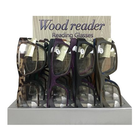 New 814445  Wood Reader Reading Glasses Asst (24-Pack) Accessories Cheap Wholesale Discount Bulk Apparel Accessories Candle Holder (Wholesale Reading Glasses)