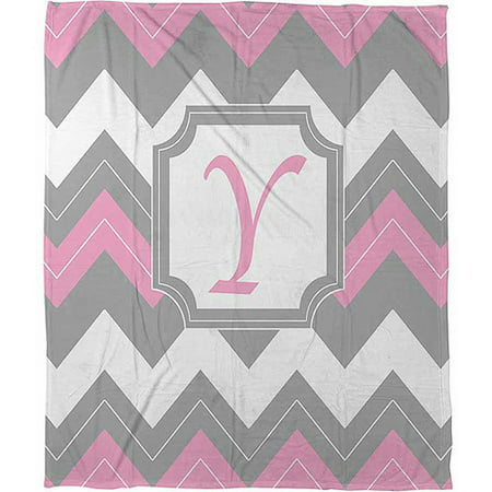 Thumbprintz Chevron Monogram Pink Y Coral Fleece Throw, 30