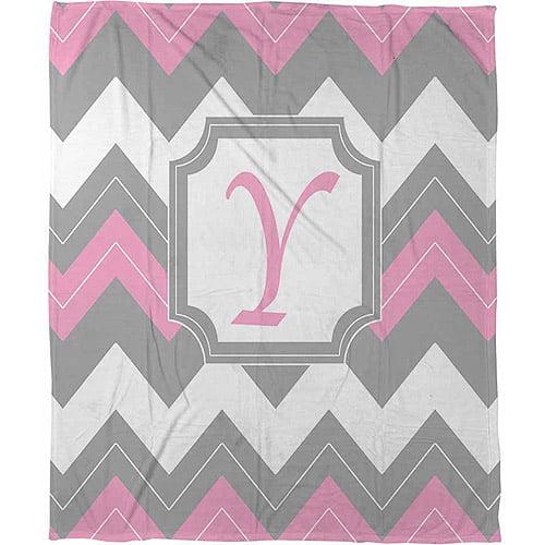 """Thumbprintz Chevron Monogram Pink Y Coral Fleece Throw, 30"""" x 40"""""""