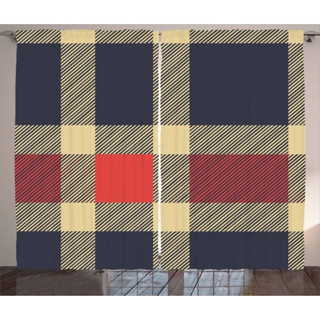 Checkered Curtains 2 Panels Set, Vintage Plaid Tartan Pattern Design Retro Display Checks Cross Lines, Window Drapes for Living Room Bedroom, 108W X 96L Inches, Dark Blue Coral Cream, by