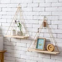 Distressed Wood Hanging Swing Rope Floating Shelves Wall Mounted for Bedroom,Living Room
