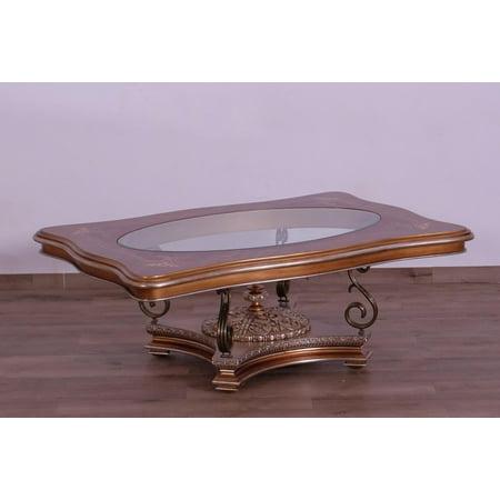 Imperial Luxury Brown & Silver Gold RAFFAELLO II Coffee Table EUROPEAN FURNITURE
