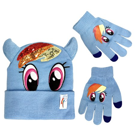 My Little Pony Winter Beanie Hat Matching Glove Set Rainbow Dash Character (Dash Cartoon Character)