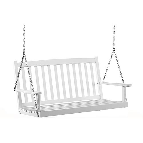 Perfect Mainstays Outdoor Wood Porch Swing, White