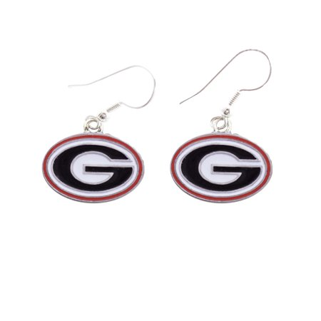 Bulldog Head Charm (Georgia Bulldogs Iridescent Silver French Hook Red Charm Earring Jewelry)