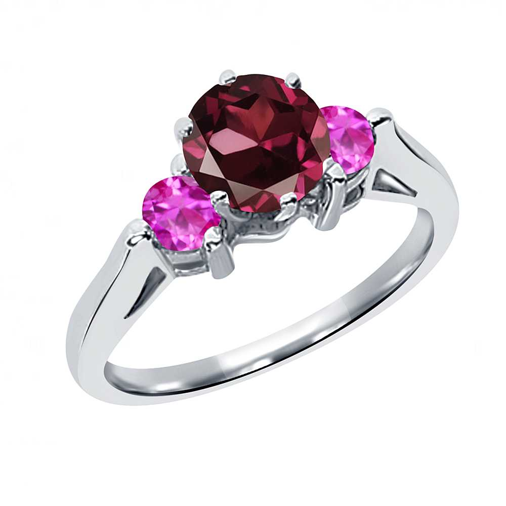 0.80 Ct Round Red Rhodolite Garnet Pink Sapphire 18K White Gold 3-Stone Ring by