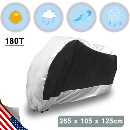 XXL 180T Motorcycle Cover Rain Dust Silver Black Outdoor UV Rainproof For Harley - Silver Motorcycle Cover