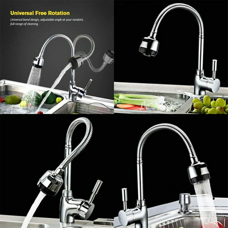 360° Rotating Flexible Single Handle Swive l Spout Sprayer Pull Down Mixer High Arc Kitchen Sink Faucet Tap Hot and Cold mixer Water Faucet for Commercial and Home Kitchen