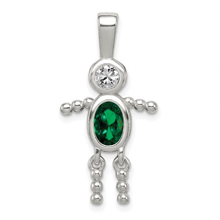 - 925 Sterling Silver Cubic Zirconia Cz May Glass Boy Pendant Charm Necklace Birthstone Kid For Women Gift Set