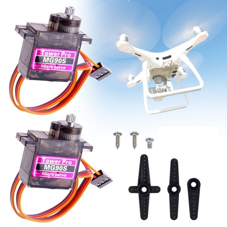 EEEKit MG90S Metal Gear 2-Pack, Micro 9g Mini Digital Servo Geared Motor for RC Helicopter Plane Boat