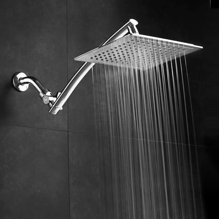 Razor™ by AquaSpa® Mega Size 9-inch Chrome Face Square Rainfall Shower with Arch Design 15-inch Stainless Steel Extension Arm / Premium Chrome (Handshower Extension Kit)