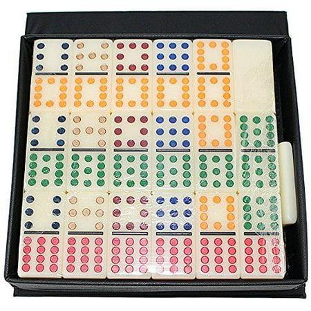 Gambling Dominoes Double 12 Color Dot In Snap Vinyl Case New