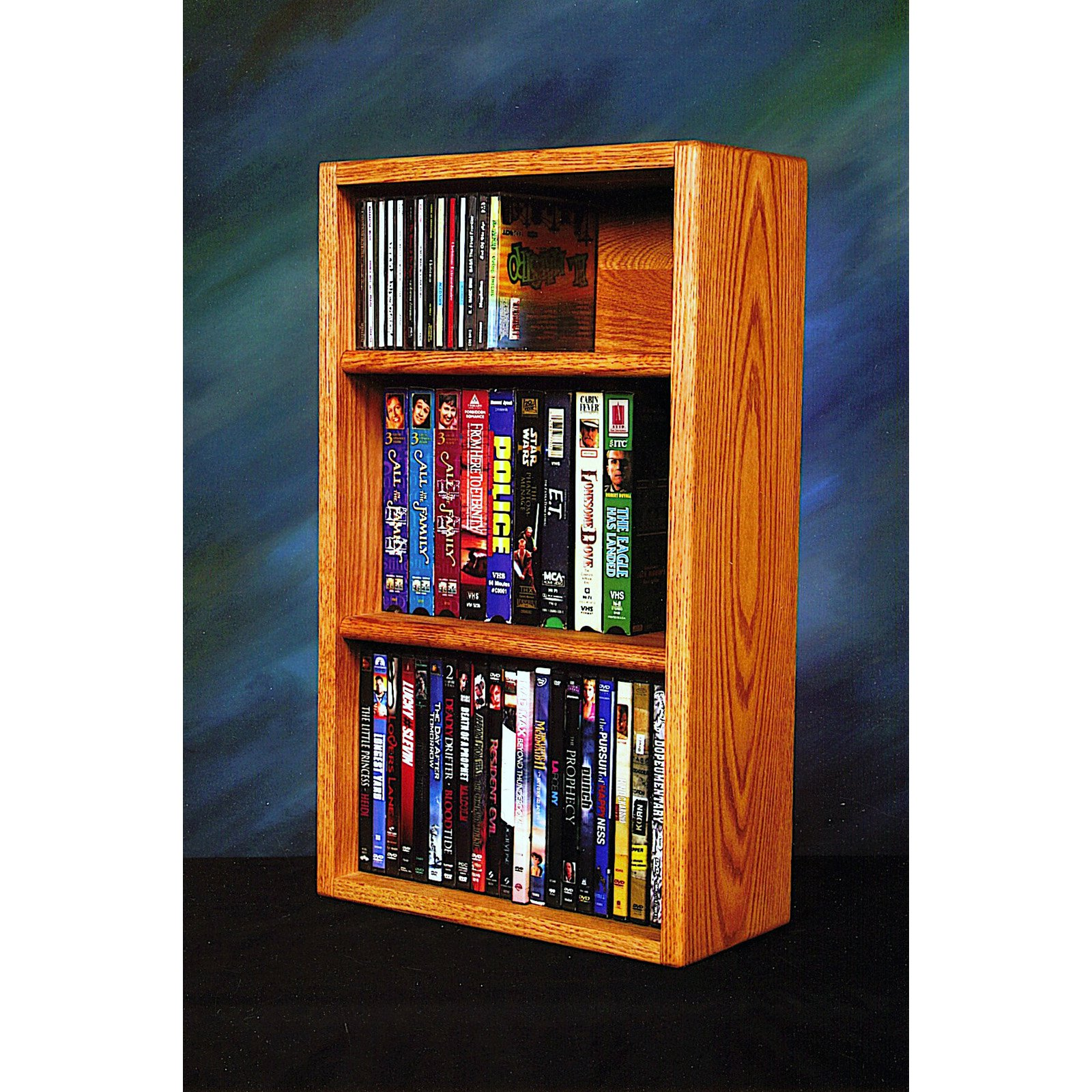 The Wood Shed Solid Oak Desktop / Shelf 55 CD / DVD / VHS Tape Media Rack