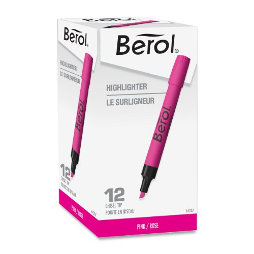 Berol Highlighter - Broad, Narrow Marker Point Type - Chisel Marker Point Style - Pink Ink - Pink Barrel - 12 / Dozen (SAN64327)