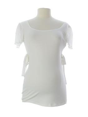 JULES & JIM Maternity Women's V-Back Side Bows Top Medium White