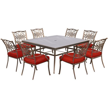 Image of Hanover Traditions 9-Piece Outdoor Dining Set with Square Glass-Top Table and 8 Stationary Chairs