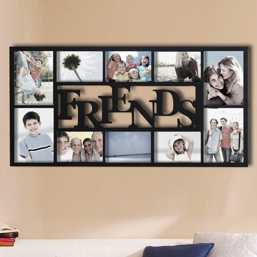 Adeco Trading 10 Opening Decorative ''Friends'' Wall Hanging Collage Picture Frame