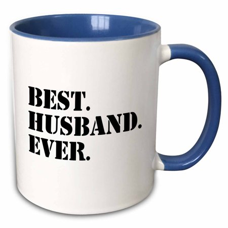 3dRose Best Husband Ever - fun romantic married wedded love gifts for him for anniversary or Valentines day - Two Tone Blue Mug,