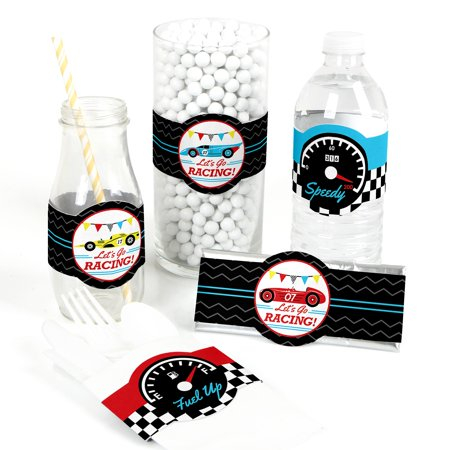 Let's Go Racing - Racecar - DIY Party Supplies - Race Car Birthday Party or Baby Shower DIY Wrapper Favors & Decor-15Ct - Car Birthday Supplies