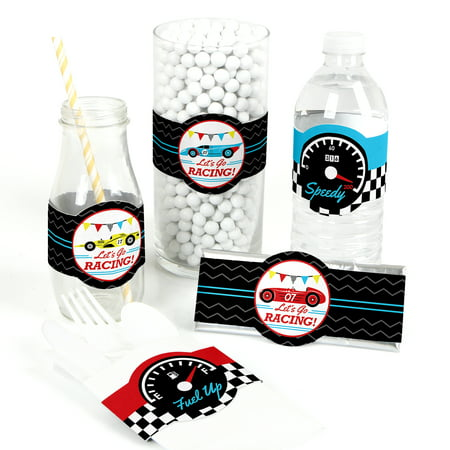 Let's Go Racing - Racecar - DIY Party Supplies - Race Car Birthday Party or Baby Shower DIY Wrapper Favors & Decor-15Ct (Race Car Birthday Party Ideas)