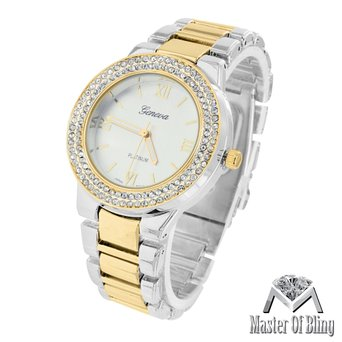 Womens White Yellow Watch 2 Tone Catlin Pave Lab Created Cubic Zirconia Bezel MK Style Luxury