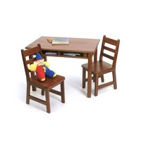 Lipper Child's Rectangular Table with Shelves & 2 Chairs, Cherry Finish