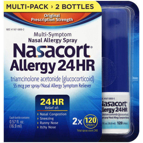 Nasacort Allergy 24 HR Multi-Symptom Nasal Allergy Relief Spray, 55mcg, 0.57 fl oz, 2 count