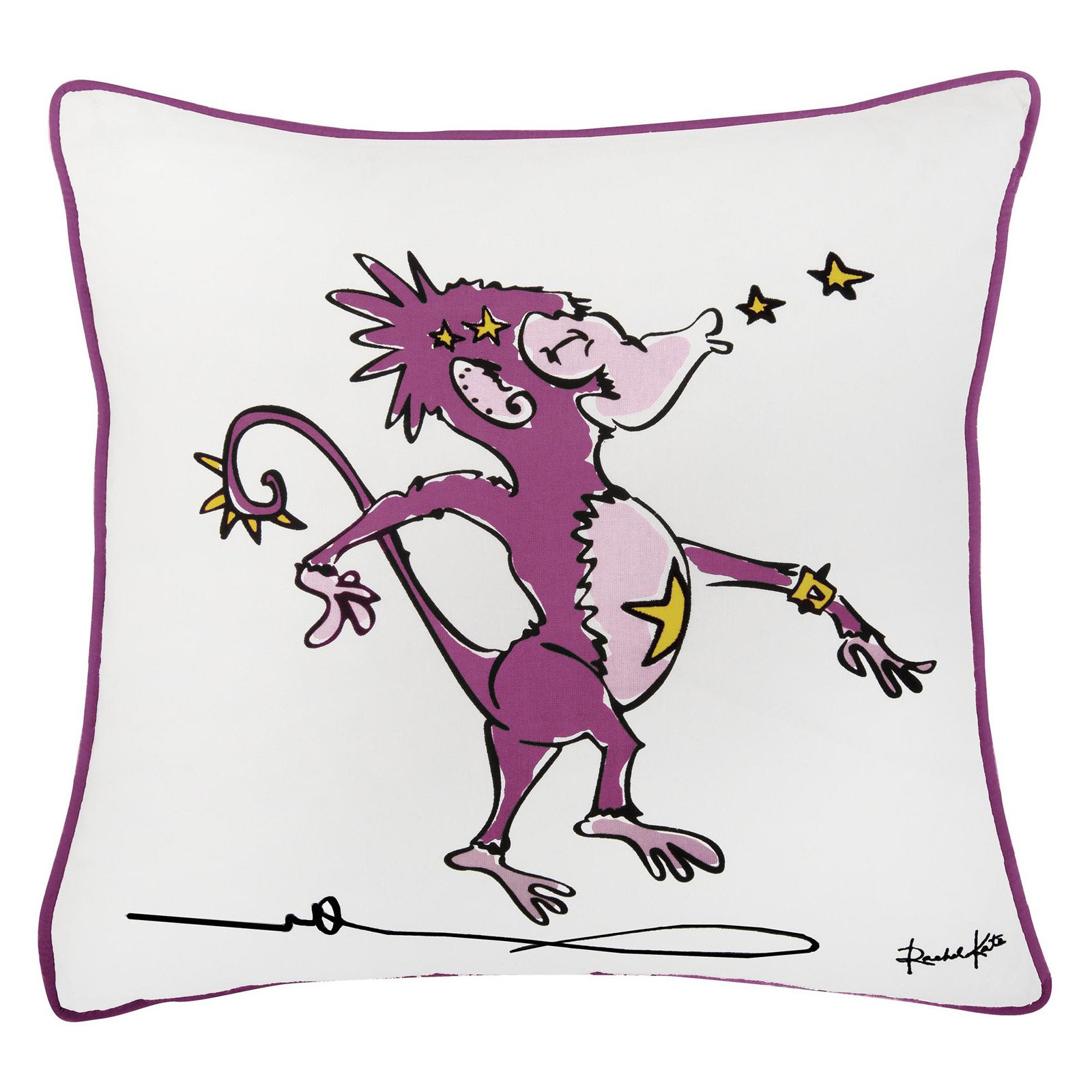 "Rachel Kate By Rizzy Home Decorative Poly Filled Throw Pillow Monkey 18""X18"" Pink"