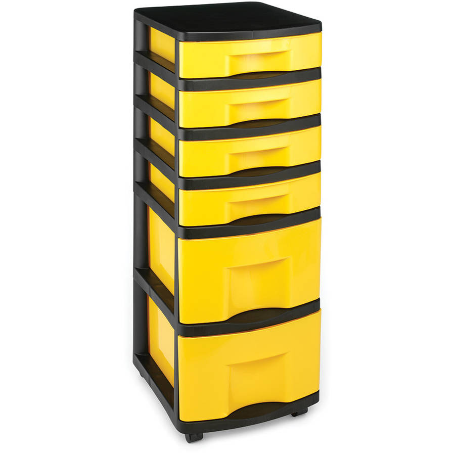 Homz Durabilt Cart with 6 Drawers, Black and Yellow, Set of 2